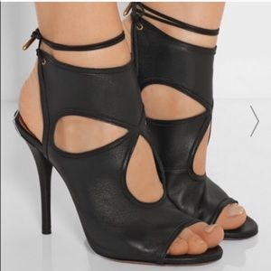 Aquazzura black soft leather sexy thing sandals